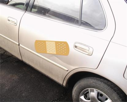 band aid on car